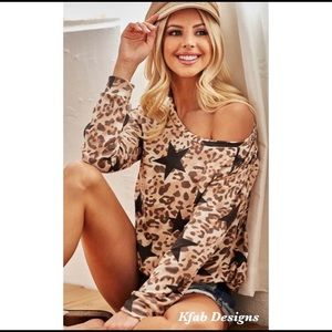 New! Leopard Star Print French Terry Top